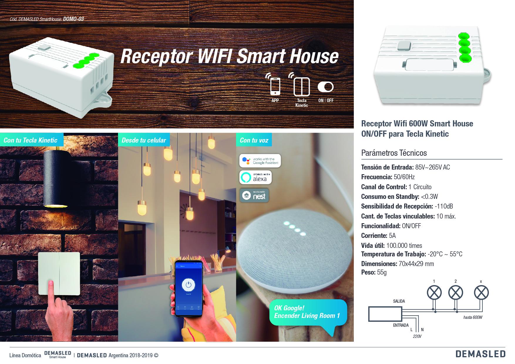 6307f4efaf1 El Receptor WIFI Smart House tiene un salida Relay (ON OFF) de hasta 600W.  lo cual permite la moderación sobre distintas luminarias
